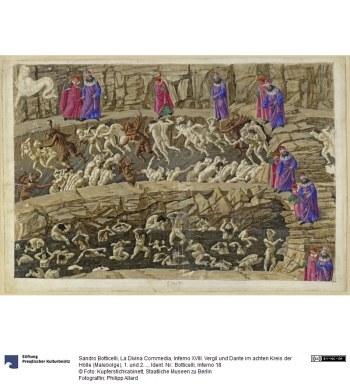 Sandro Botticelli (1445–1510): La Divina Commedia, Inferno XVIII. Vergil und Dante im achten Kreis der Hölle (Malebolge), 1. und 2. Bolgia: Bestrafung der Kuppler und Verführer, der Schmeichler und Huren, Metallstift, Feder und Pinsel auf Pergament, 1481–1488, Bildquelle: Stiftung Preußischer Kulturbesitz, Photograph: Jörg P. Anders, http://www.smb-digital.de/eMuseumPlus?service=direct/1/ResultLightboxView/result.t1.collection_lightbox.$TspTitleImageLink.link&sp=10&sp=Scollection&sp=SfieldValue&sp=0&sp=2&sp=3&sp=Slightbox_3x4&sp=84&sp=Sdetail&sp=0&sp=F&sp=T&sp=91, Creative Commons Lizenz 3.0 Deutschland (CC BY-NC-SA 3.0 DE). https://creativecommons.org/licenses/by-nc-sa/3.0/de/