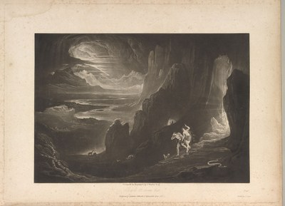 The Paradise Lost of John Milton with Illustrations by John Martin, Mezzotinto, 39,3 cm x 30,7 cm x 6,2 cm, 1846, Künstler: John Martin; Bildquelle: Metropolitan Museum of Art, https://www.metmuseum.org/art/collection/search/334091?&searchField=All&sortBy=Relevance&ft=paradise+lost&offset=0&rpp=20&pos=3, lizensiert unter Creative Commons Lizenz CC0 1.0 Universal (CC0 1.0).