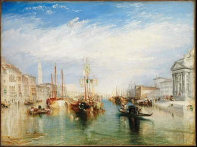 William Turner (1775–1851), Venice, from the Porch of Madonna della Salute, Öl auf Leinwand, 91 cm x 122 cm, ca. 1835, Bildquelle: Metropolitan Museum of Art, https://www.metmuseum.org/art/collection/search/437853, CC0 1.0 Universal (CC0 1.0), https://creativecommons.org/publicdomain/zero/1.0/.