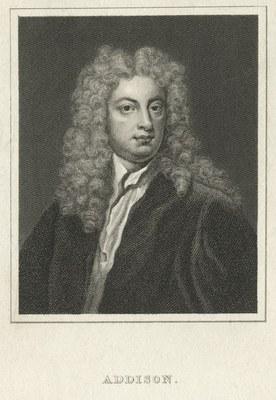 Joseph Addison (1672–1719), undatierter Kupferstich, unbekannter Künster. Bildquelle: http://digitalgallery.nypl.org/nypldigital/id?494468 © New York Public Library.