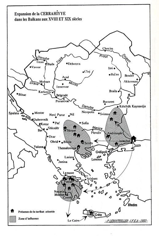 Expansion of the Jerrahiyye brotherhood in the Balkans in the 18th and 19th centuries, map, author: ??; source: Clayer, Nathalie: Mystiques, Etat et Société: Les Halvetis dans l'aire balkanique de la fin du XVe siècle à nos jours, Leiden 1994.