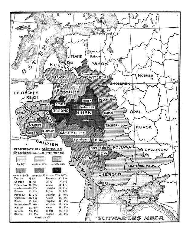 Karte des jüdischen Ansiedlungsrayons in Russland, Berlin 1915, unbekannter Ersteller; Bildquelle: Judaica Sammlung Frankfurt, http://nbn-resolving.de/urn:nbn:de:hebis:30-180010087007.