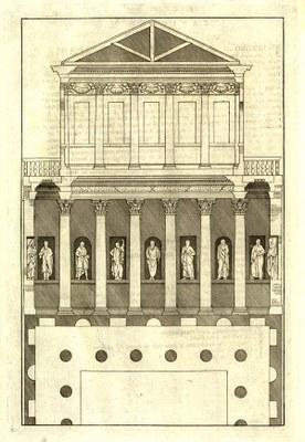 Andrea Palladio (1508–1580), Ägyptischer Saal, 1570; Bildquelle: Palladio, Andrea: I quattro libri dell'architettura, Venedig 1570, vol. 2, S. 40, Exemplar der Niedersächsischen Staats- und Universitätsbibliothek Göttingen, Signatur 4 M ARCH I, 1293 RARA.