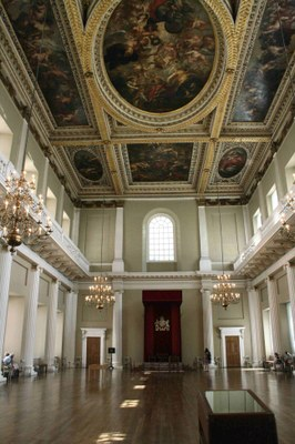 Banqueting House, Innenansicht der Südseite, Farbphotographie, 2008, Photograph: Michael Wal; Bildquelle: Wikimedia Commons, http://commons.wikimedia.org/wiki/File:Banqueting_House_801.jpg.  Creative Commons Attribution-Share Alike 3.0 Unported license.