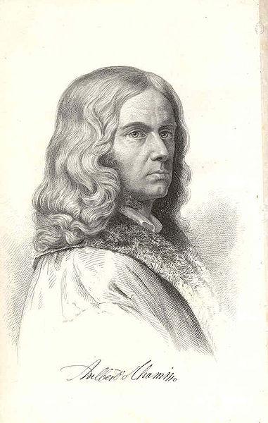 Portrait Adelbert von Chamisso (1781–1838), Stahlstich, o. J. [vor oder 1864], unbekannter Künstler; Bildquelle: Chamisso, Adelbert von: Werke, 5. Aufl., Berlin: Weidmannsche Buchhandlung 1864, vol. 1, S. 2, wikimedia commons, http://commons.wikimedia.org/wiki/File:Chamisso.portrait.jpg