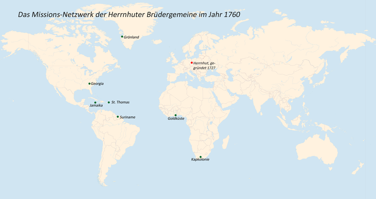 Das Missions-Netzwerk der Herrnhuter Brüdergemeine im Jahr 1735 IMG