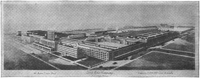 "A view of the Highland Park plant of the Ford Motor Company in 1922, in: Bernard L. Johnson, ""Henry Ford and His Power Farm"", Farm Mechanics 102 (February 1922), http://books.google.com/books?id=hTY6AQAAMAAJ&pg=PA102#v=onepage&f=false. Via Wikimedia Commons: https://commons.wikimedia.org/wiki/File:Farm_Mechanics_1922_Ford_Highland_Park_cropped.png, public domain."
