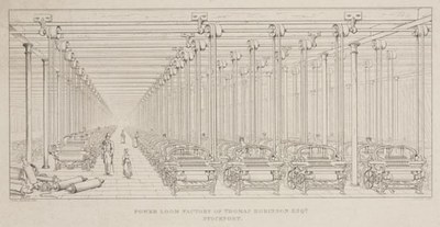 Power Loom Factory of Thomas Robinson Esqr, Stockport, Druckgrafik, 17,5 x 32 cm, 1849–1850, Kupferstich: Joseph Wilson Lowry (1803–1879),  Zeichnung: James Nasmyth (1808–1890); Bildquelle: © Science Museum / Science & Society Picture Library, Image No. 10422728, http://www.scienceandsociety.co.uk/results.asp?image=10422728.