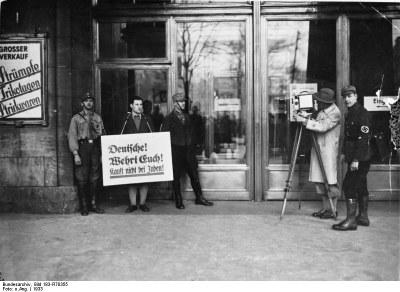 http://commons.wikimedia.org/wiki/File:Bundesarchiv_Bild_183-R70355,_Berlin,_Boykott_j%C3%BCdischer_Gesch%C3%A4fte.jpg   Bundesarchiv