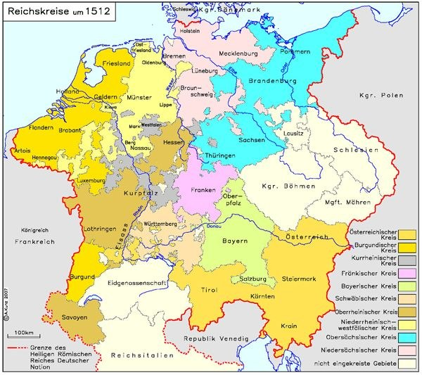 Joachim Robert Moeschl: Reichskreise um 1512, Farbgrafik, 2008; Bildquelle: IEG-MAPS, Institut für Europäische Geschichte, Mainz / © Andreas Kunz, 2008, online: http://germanhistorydocs.ghi-dc.org/images/Reichskreise%2015121.jpg.