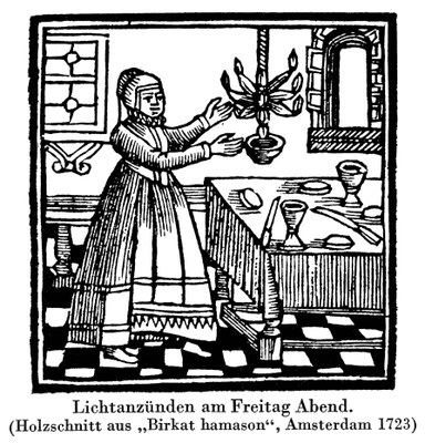 """Lichtanzünden am Freitag Abend. (Holzschnitt aus """"Birkat hamason, Amsterdam 1723), unbekannter Künstler; Bildquelle: Jüdisches Lexikon, Berlin 1930, vol. 4, Sp. 21."""