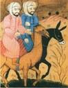 Mohammed und Issa (Jesus, auf dem Esel) reiten einträchtig nebeneinander IMG