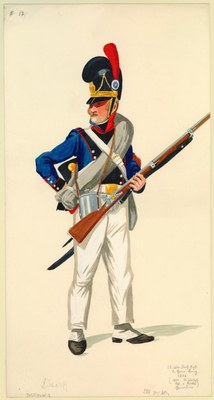 Ludwig Scharff, Bavarian Infantry Soldier (13. Lin. Inf. Rgt. 1 Gren. König 1806), watercolour, 25.6 x 51.5 cm, 19th century; source: Anne S.K. Brown Military Collection, Brown University Library, http://dl.lib.brown.edu/catalog/catalog.php?verb=render&id=1186581044406250.