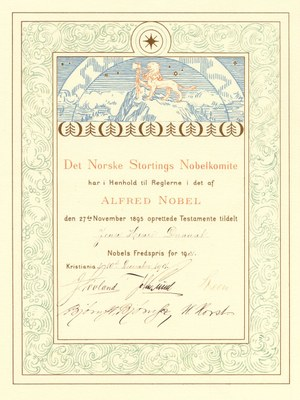 Urkunde des Friedensnobelpreis 1901 für Henry Dunant