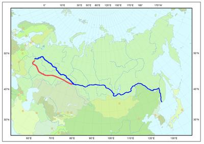 Transsibirische Eisenbahn, Blau: Aktuelle Streckenführung, Rot: Ursprüngliche Streckenführung, Karte, 2013, Ersteller: Reinhard Dietrich; Bildquelle: Wikimedia Commons, http://commons.wikimedia.org/wiki/File:Transsibirische_Eisenbahn.png, gemeinfrei.
