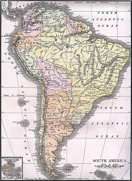 """South America"" from ""Americanized Encyclopaedia Britannica"", Vol. 1, Chicago 1892. Source: Perry-Castañeda Library Map Collection. Courtesy of the University of Texas Libraries, The University of Texas at Austin. http://www.lib.utexas.edu/maps/historical/south_america_1892.jpg, public domain."