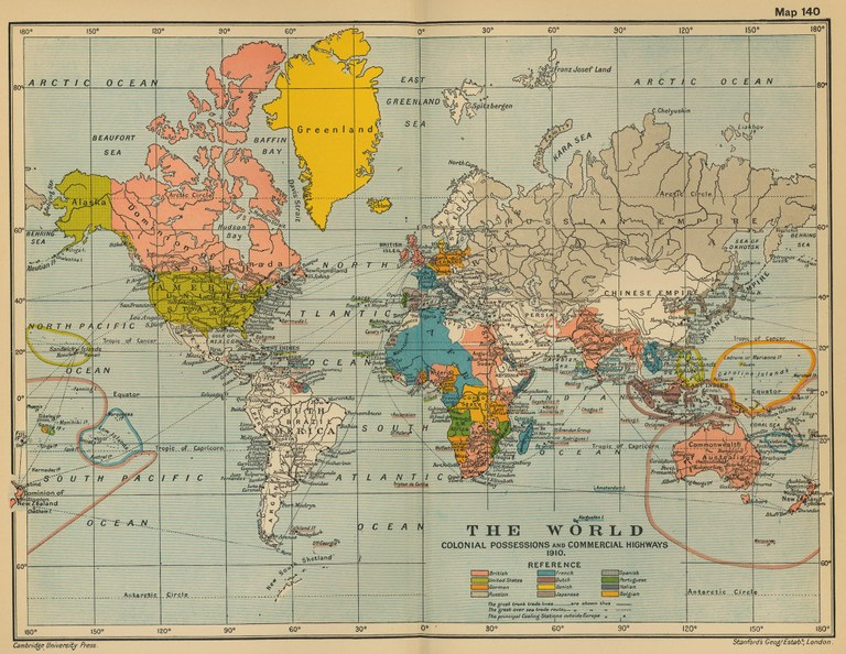 Stanford's Geographical Establishment, London: The World: Colonial Possesions and Commercial Highways, 1910, in: The Cambridge Modern History Atlas, edited by Sir Adolphus William Ward, G.W. Prothero, Sir Stanley Mordaunt Leathes, and E.A. Benians. Cambridge University Press; London 1912, map 140. Source: Perry-Castañeda Library Map Collection. Courtesy of the University of Texas Libraries, The University of Texas at Austin. http://www.lib.utexas.edu/maps/historical/ward_1912/world_1910.jpg, public domain.