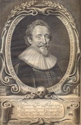 Willem Jabszoon Delff (1580–1638), Portrait Hugo Grotius (1583–1645), Kupferstich nach einem Gemälde von Michiel van Mierevelt (1567–1641), 1632; Bildquelle: Grotius, Hugo: Annotationes in Libros Evangeliorum..., Amsterdam 1641 [Fontispiz]. Scan IEG