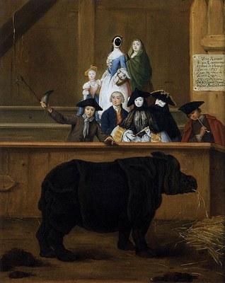 Pietro Longhi (1702–1785): Das Rhinozeros (1751); Öl auf Leinwand, 62 x 50 cm. Ca' Rezzonico, Venedig. Bildquelle: Wikimedia Commons, http://commons.wikimedia.org/wiki/File:Pietro_Longhi_-_The_Rhinoceros_-_WGA13408.jpg. Gemeinfrei.
