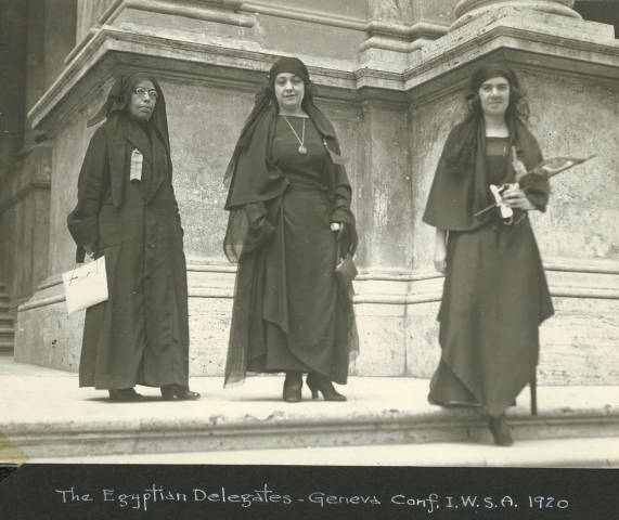 Nabawiyya Musa (1886–1951), Huda Shaarawi (1879–1947) and Saiza Nabarawi (1897–1985), black-and-white photograph, Italy 1923, unknown photographer; source: with the kind permission of the C.C. Catt Collection, Bryn Mawr College Library, Special Collections, BMC ID Catt6.14.3a, http://triptych.brynmawr.edu/cdm4/item_viewer.php?CISOROOT=/suffragists&CISOPTR=530&CISOBOX=1&REC=2.