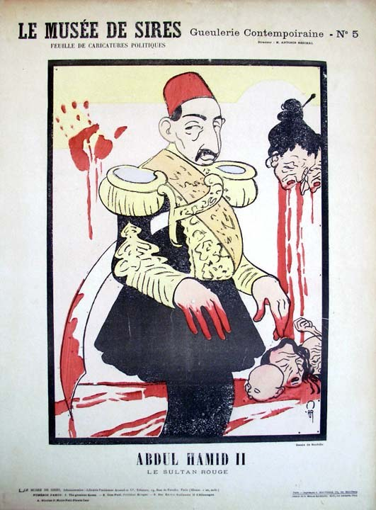 """""""Abdul Hamid II, le sultan rouge"""", Lithographie, um 1900, Auguste Roubille (1872–1955); Bildquelle: Graphic Arts Collection No. GC103.  Department of Rare Books and Special Collection. Princeton University Library"""", http://blogs.princeton.edu/graphicarts/roubille3.html."""