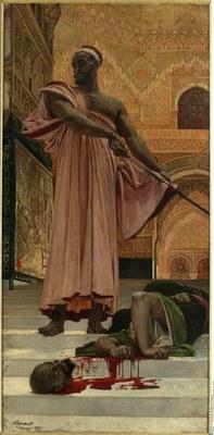 Henri Regnault (1843–1871), Hinrichtung ohne Urteilspruch unter den maurischen Königen von Granada, Öl auf Leinwand,1870; Bildquelle: Bildagentur für Kunst, Kultur und Geschichte (bpk),Bildnummer 00057445.