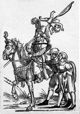 Hans Guldenmund, Osmanischer Soldat mit gefangenen österreichischen Bauern, Holzschnitt, 16. Jahrhundert; Bildquelle: © Bildagentur für Kunst, Kultur und Geschichte (bpk), Bildnummer 30033070.