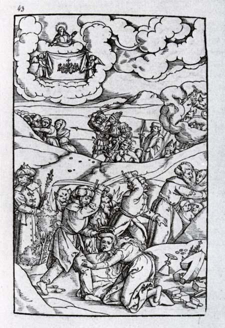 Holzschnitt von Matthias Gerung (1500–1570) zum Apokalypsenkommentar des Berner Predigers Sebastian Meyers. Codex germanicus 6592; Bildquelle: Bayerische Staatsbibliothek, München.