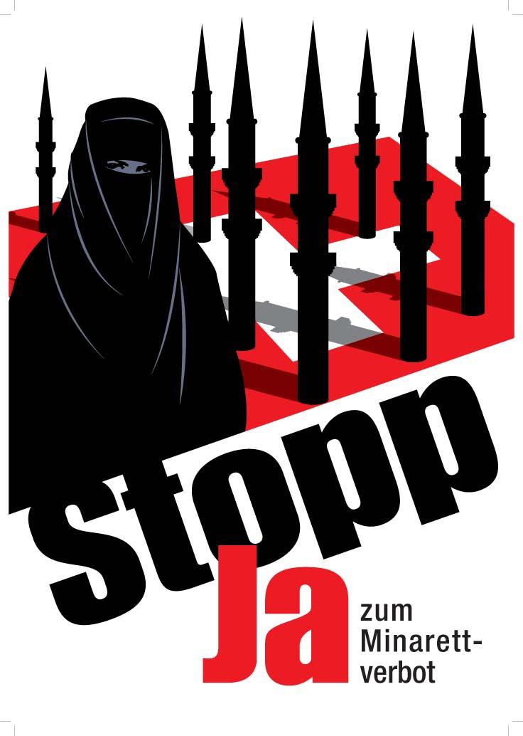"""Plakat zur Volksabstimmung über das Minarettverbot in der Schweiz, Grafik, unbekannter Künstler; Bildquelle:  Initiativ-Komitee """"Gegen den Bau von Minaretten"""", http://www.minarette.ch"""