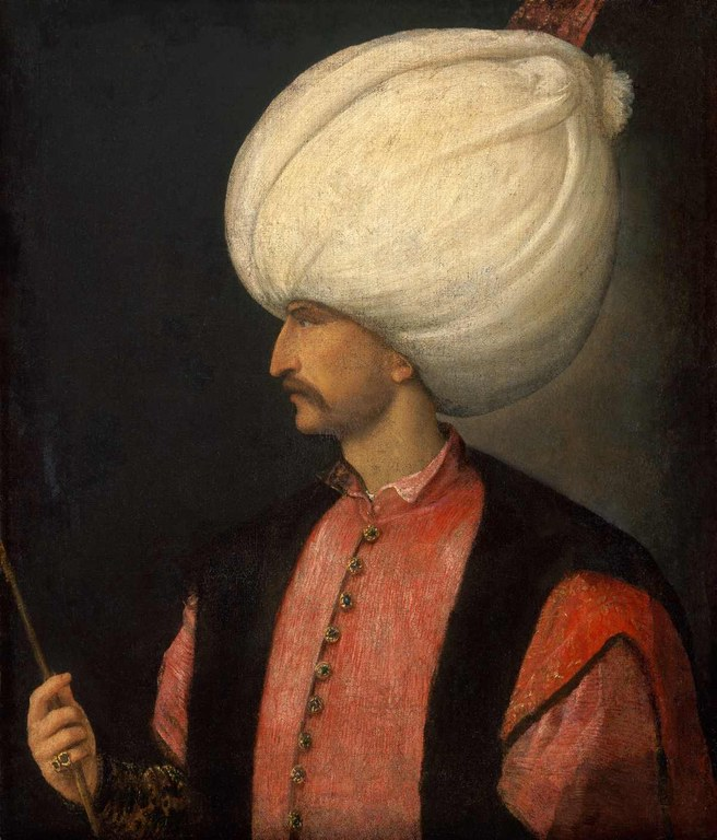 Sultan Suleiman I. . (ca. 1494–1566), Öl auf Leinwand, um 1530, wird Tizian (Tiziano Vecellio) zugeschrieben [?]; Bildquelle: Kunsthistorisches Museum Wien.