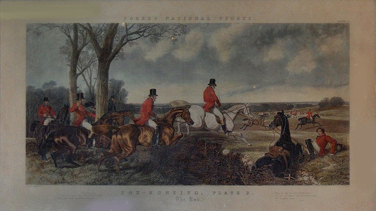 Fox-Hunting, Plate 3: The Run, kolorierter Stich von John Harris (1791–1873) nach einem Gemälde von John Frederick Herring, Jr. (1815–1907), Großbritannien 1852, By Messrs. Fores at Their Sporting & Fine Print Repository & Frame Manufactory, 41 Piccadilly, Corner of Sackville St., Photograph: Georges Jansoone; Bildquelle: wikimedia commons, http://en.wikipedia.org/wiki/File:S.W.Fores.The_Run.JPG.  Creative Commons Attribution 3.0 Unported