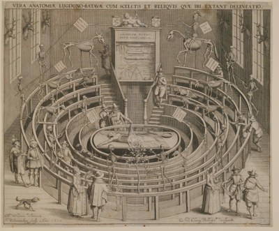 Willem Swanenburgh (1581/1582–1612), Das Anatomische Theater zu Leiden, Kupferstich nach einer Zeichnung von Johannes Woudanus, 1610; Bildquelle:  Germanisches Nationalmuseum, Nürnberg, http://www.gnm.de/Inv.-Nr. HB 25433 Kaps 1198