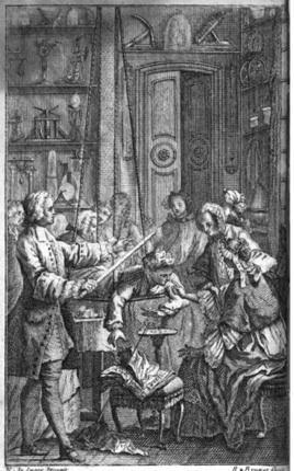 Experiment des Abbé Nollet  zur Elektrostatik; Bildquelle: Nollet, Jean-Antoine: Essai sur l'électricité des corps, 5. Aufl., Paris 1771 http://ahs-geneve.ch/Accueil.html, © http://www.ville-ge.ch/mhs/expositions.php.