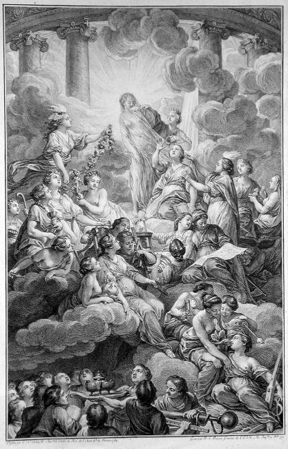 Benoît-Louis Prévost (1735–1804), Frontispiz der Encyclopédie, Gravur nach einer Zeichnung von Charles-Nicolas Cochin (1715–1790), 1804; Bildquelle: Wikimedia Commons, http://commons.wikimedia.org/wiki/File:Encyclopedie_frontispice_full.jpg?uselang=de, gemeinfrei.