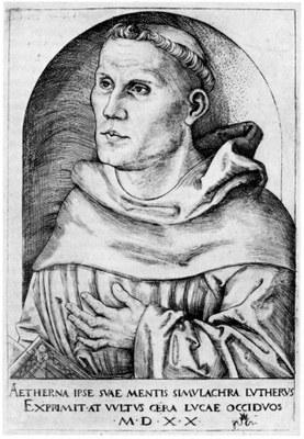 Lucas Cranach d. Ä. (1472–1553), Portrait von Martin Luther (1483–1546), Kupferstich, 16,5x11,5cm, 1520, Bildquelle: Staatliche Graphische Sammlung München, Inventarnummer: 14448 D.