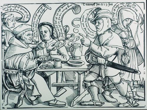 Leonhard Beck (1480–1542), Mönch und Magd, Holzschnitt (mit xylographischem Text), 23,8x32,9cm, 1523, Geisberg/Strauss Nr. 140; Bildquelle: © Bildagentur für Kunst, Kultur und Geschichte (bpk)/Kupferstichkabinett, SMB/Jörg P. Anders; Bildnummer 20039166, Standort des Originals: Berlin, Kupferstichkabinett (Staatliche Museen zu Berlin, Preußischer Kulturbesitz).