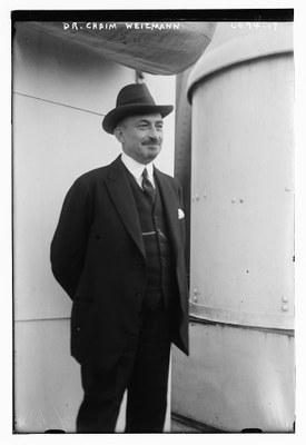 Portrait von Chaim Azriel Weizmann (1874–1952), Schwarz-Weiß-Photographie, o. J. [vor 1925],  Bain News Service, New York, USA; Bildquelle: Library of Congress, George Grantham Bain Collection, DIGITAL ID: (digital file from original neg.) ggbain 36519 http://hdl.loc.gov/loc.pnp/ggbain.36519.